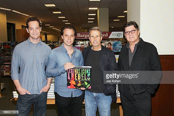 Coauthor Jared Levine composer/coauthor Sebastian Robertson coauthor/ band manager Jim Guerinot and coauthor/singersongwriter Robbie Robertson attend...