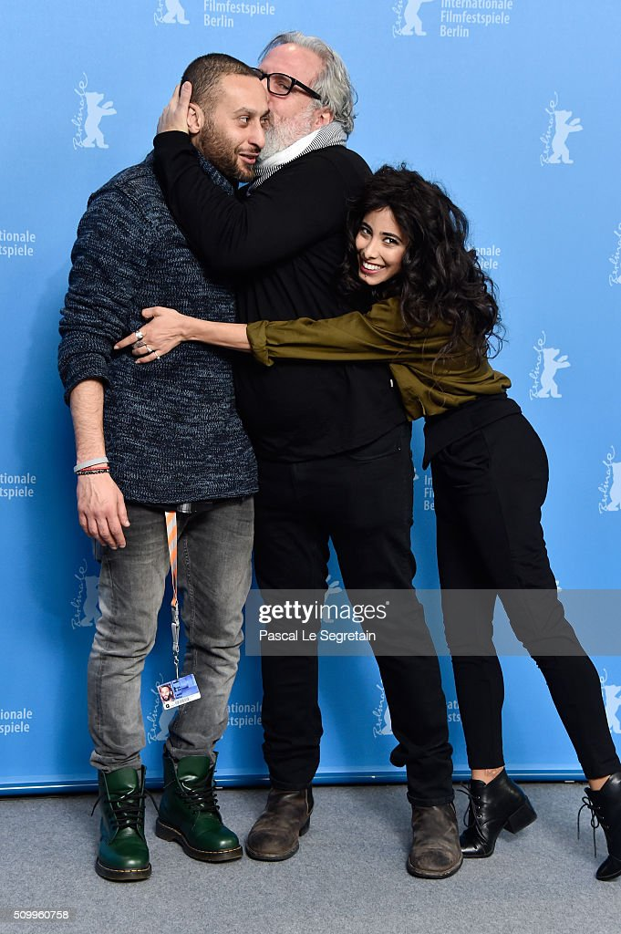 Co-author Tamer Nafar,Director Udi Aloni and Actress Samar Qupty attend the 'Junction 48' photo call during the 66th Berlinale International Film Festival Berlin at Grand Hyatt Hotel on February 13, 2016 in Berlin, Germany.
