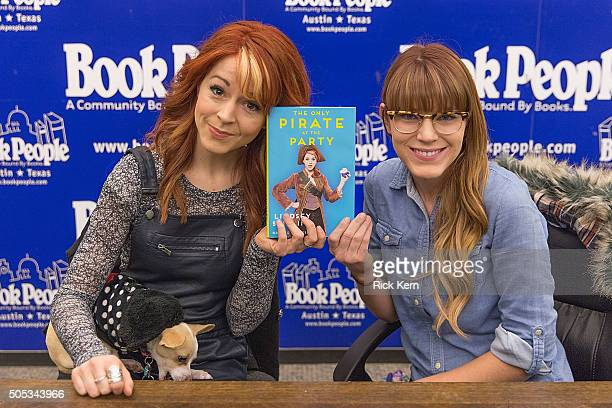 Coauthors Lindsey Stirling and Brooke S Passey sign copies of their new book 'The Only Pirate at the Party' at BookPeople on January 16 2016 in...
