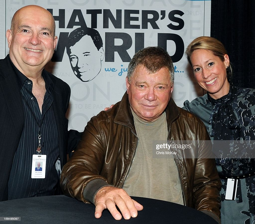 Cobb Energy Centre General Manager Michael Taormina (L) , <a gi-track='captionPersonalityLinkClicked' href=/galleries/search?phrase=William+Shatner&family=editorial&specificpeople=202461 ng-click='$event.stopPropagation()'>William Shatner</a> and <a gi-track='captionPersonalityLinkClicked' href=/galleries/search?phrase=William+Shatner&family=editorial&specificpeople=202461 ng-click='$event.stopPropagation()'>William Shatner</a>'s Tour Manager and Personal Assistant Beth Wischman (R) pose backstage at Cobb Energy Centre on January 13, 2013 in Atlanta, Georgia.
