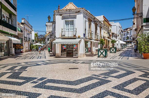 Cobbled square Faro Old Town Algarve