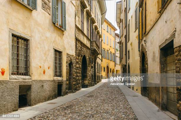 Cobbled street in Citta Alta (Old Town) in Bergamo, Lombardy, Italy