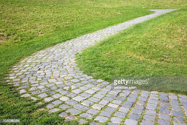 cobbledstone path s-curve