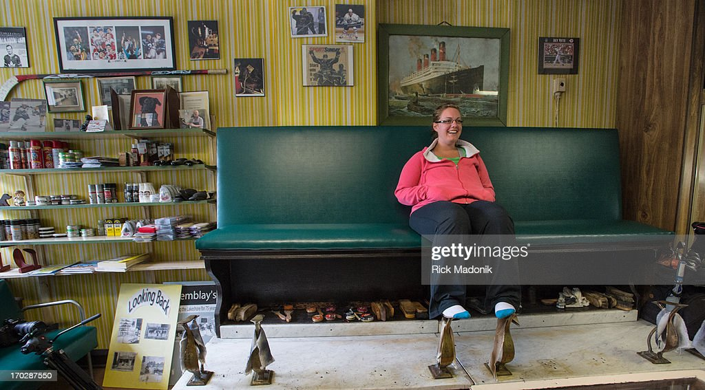 Shoe Shine Bench Part - 45: Cobbler Bruce Tremblayu0027s Daughter Andrea Tremblay, 29, Sits On The Shoe  Shine Bench Which