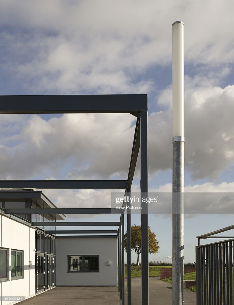 Cobblers Lane School, Pontefract, United Kingdom, Architect Walters And Cohen, 2007, Cobblers Lane School Playground Entrance With Street Light.