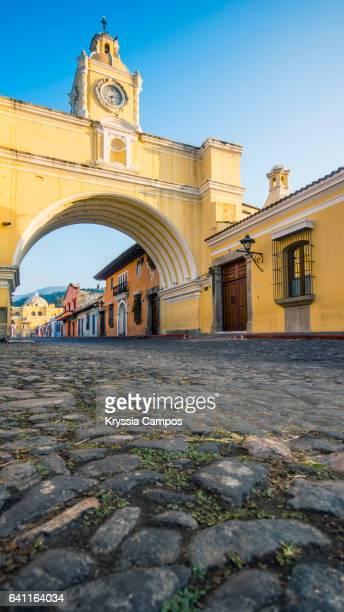 Cobblestone and Arco de Santa Catalina (Santa Catalina Arch) in Antigua Guatemala