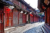 Cobblestone street in Lijiang , China