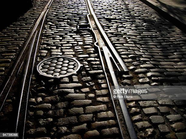 Cobblestones in railway track, New York City