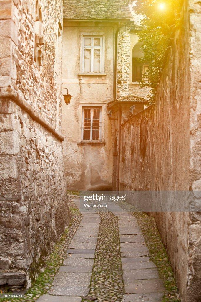 Cobblestones in village alleyway