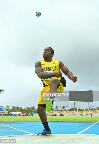 Cobe Graham of the Jamaica competes in the Boys Discus Throw Final during the Athletics on day 3 of the 2017 Youth Commonwealth Games at Thomas A...