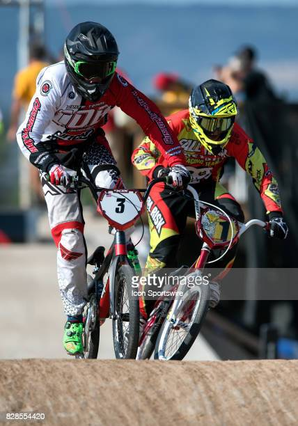 Findlay's Dawson Gremore and Fall Risk Racing's Chase Warnock attack the first straight in 14 Expert action at the USA BMX Mile High Nationals on...