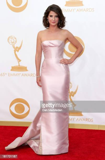 Cobie Smulders arrives at the 65th Annual Primetime Emmy Awards at Nokia Theatre LA Live on September 22 2013 in Los Angeles California