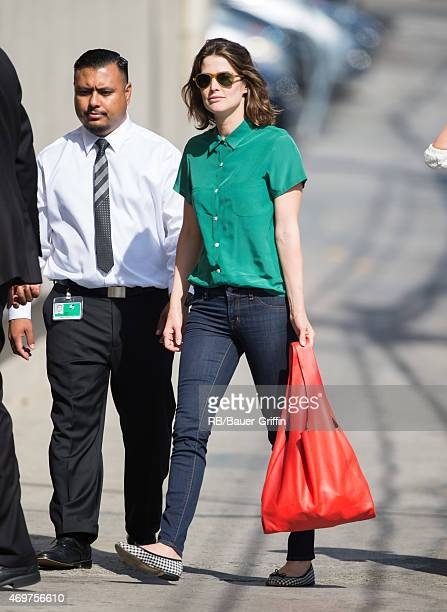 Cobie Smulders is seen at 'Jimmy Kimmel Live' on April 14 2015 in Los Angeles California