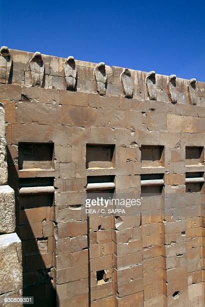 Cobra Gate detail of the defensive wall of the Step Pyramid of Djoser Necropolis of Saqqara Memphis Egypt Egyptian civilisation Old Kingdom Dynasty...