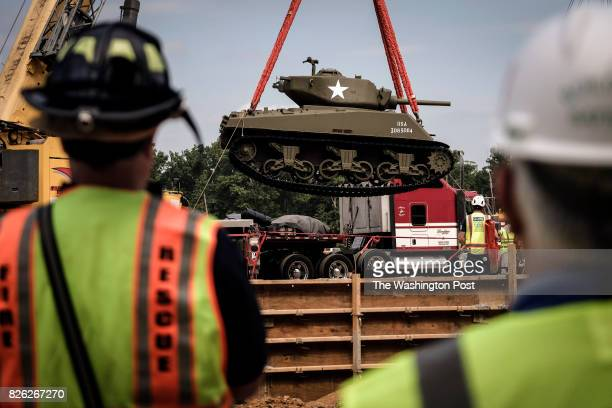 Cobra King the Sherman tank that was first to break through German lines at the Battle of the Bulge is installed at the site of the National Museum...