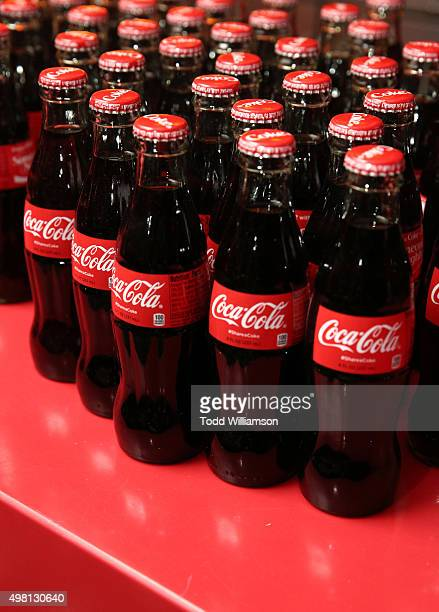 Coca Cola bottles on display at the 2015 American Music Awards Pre Party with CocaCola at the Conga Room on November 20 2015 in Los Angeles California