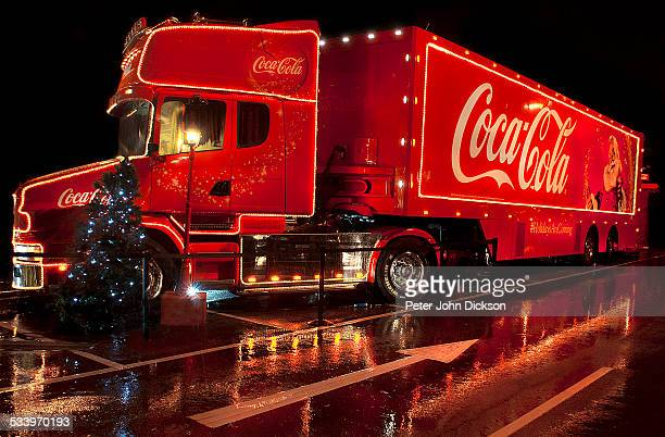 A Coca Cola lorry comes into town to light up the local supermarket car park in December 2012