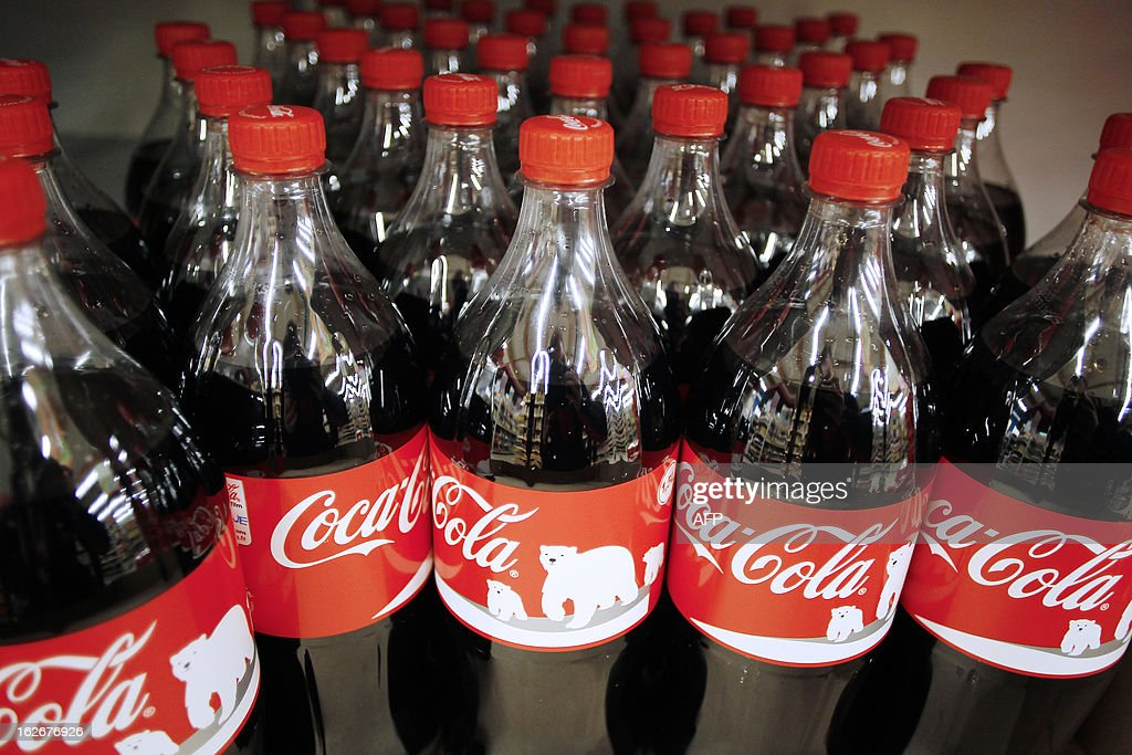 Coca-Cola bottles are pictured in a supermarket of Herouville Saint-Clair, northwestern France, on February 26, 2013.