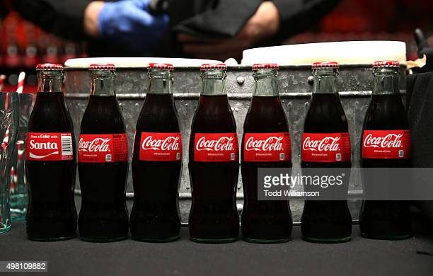 CocaCola bottles are seen on display at the 2015 American Music Awards Pre Party with CocaCola at the Conga Room on November 20 2015 in Los Angeles...