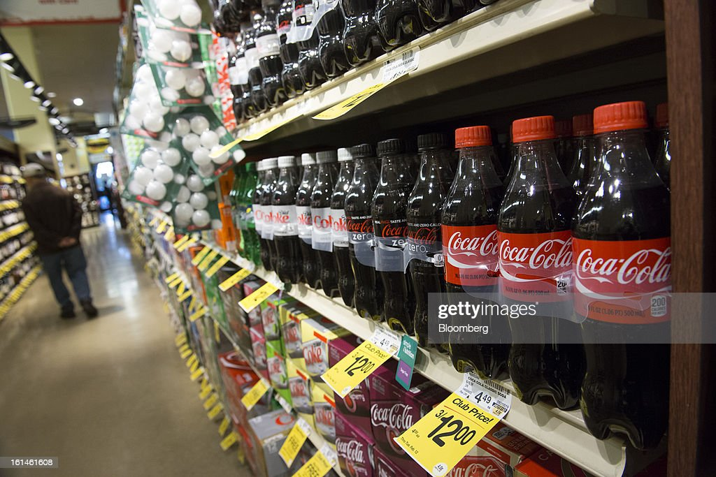 Coca-Cola Co. soda products are displayed in a supermarket in San Francisco, California, U.S., on Wednesday, Feb. 6, 2013. The Coca-Cola Co. is scheduled to release earnings data on Feb. 12. Photographer: David Paul Morris/Bloomberg via Getty Images