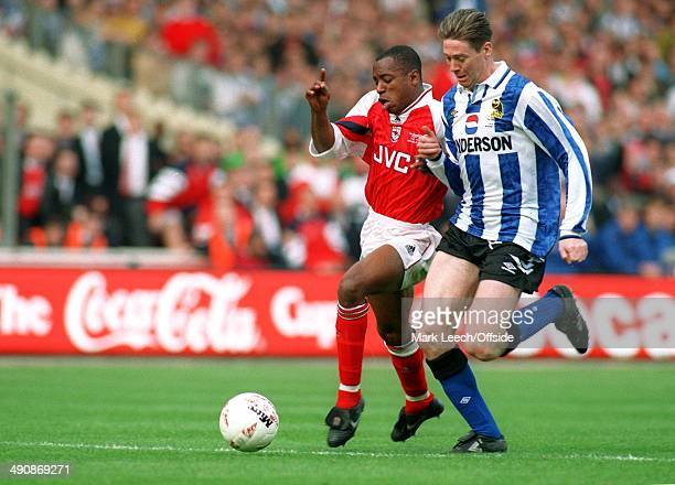 CocaCola Cup 1993 Arsenal v Sheffield Wednesday Ian Wright is put under pressure by Chris Waddle