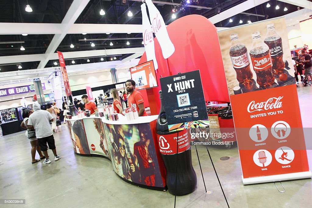 Coca-Cola products are served at the Coke music studio during the 2016 BET Experience on June 25, 2016 in Los Angeles, California.