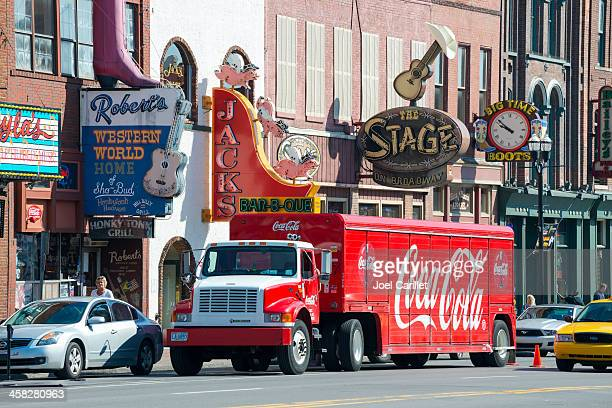 Coca-Cola truck delivering to Nashville honky tonk bars