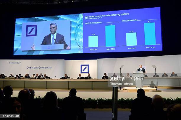 CoCEO of Deutsche Bank AG Anshu coCEO of the Deutsche Bank speaks at Deutsche Bank's annual shareholder meeting on May 21 2015 in Frankfurt am Main...