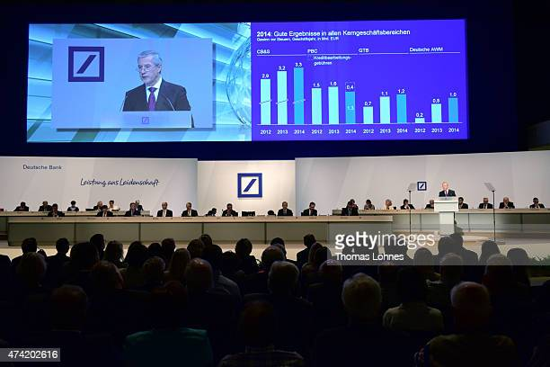 CoCEO of Deutsche Bank Juergen Fitschen speaks at the company's annual shareholder meeting on May 21 2015 in Frankfurt am Main Germany
