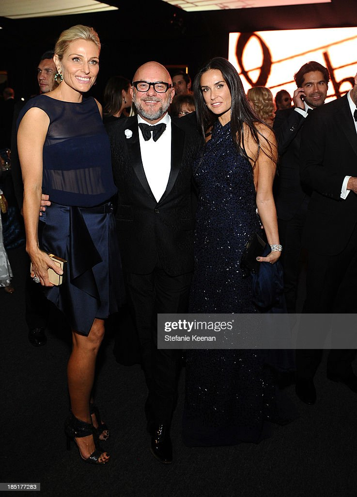 Co-Chair Jamie Tisch, floral designer Eric Buterbaugh, and actress Demi Moore attend the Wallis Annenberg Center for the Performing Arts Inaugural Gala presented by Salvatore Ferragamo at the Wallis Annenberg Center for the Performing Arts on October 17, 2013 in Beverly Hills, California.
