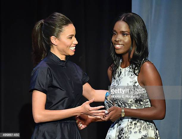 CoChair Jurnee SmollettBell and Beat The Odds Scholar NiTasha Denson speak on stage at the Children's Defense FundCalifornia 25th Annual Beat The...