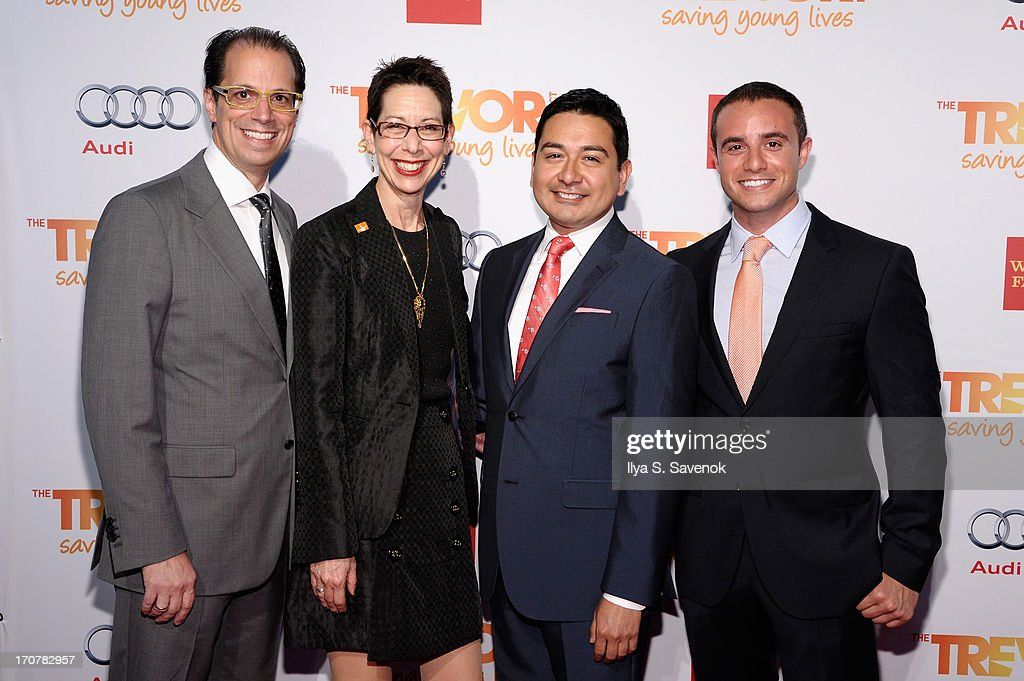Co-Chair of The Trevor Foundation James Adams, Director and CEO of the Trevor Foundation Abbe Land, Ruben Ramirez and Co-Chair of the Trevor Foundation Matthew Shwartz attend The Trevor Project's 2013 'TrevorLIVE' Event Honoring Cindy Hensley McCain at Chelsea Piers on June 17, 2013 in New York City.