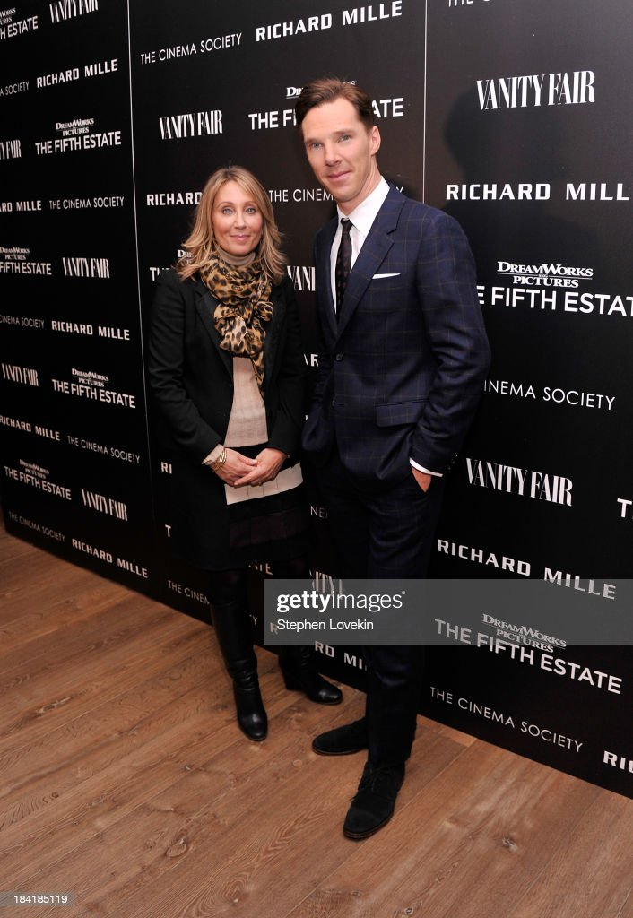Co-Chairman and CEO of Dreamworks Studios Stacey Snider and actor Benedict Cumberbatch attend The Cinema Society with Vanity Fair & Richard Mille screening of DreamWorks Pictures' 'The Fifth Estate' at the Crosby Street Hotel on October 11, 2013 in New York City.