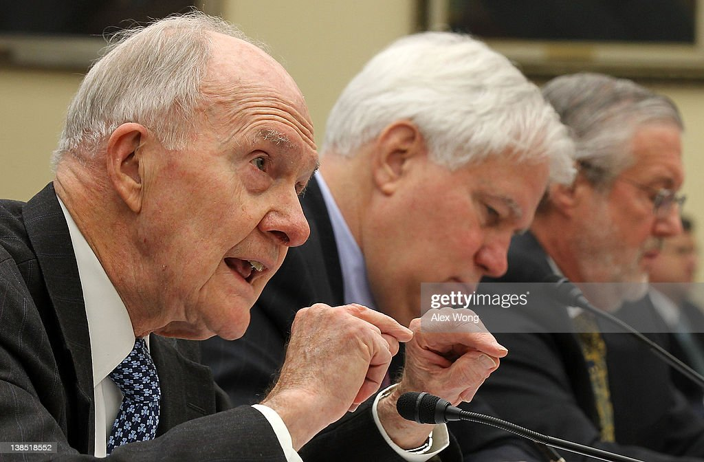 Co-Chairman of Blue Ribbon Commission on America's Nuclear Future, USAF Lt. Gen. <a gi-track='captionPersonalityLinkClicked' href=/galleries/search?phrase=Brent+Scowcroft&family=editorial&specificpeople=202236 ng-click='$event.stopPropagation()'>Brent Scowcroft</a> (Ret.); Commissioner of Blue Ribbon Commission on America's Nuclear Future Richard Meserve; and Assistant Energy Secretary on Nuclear Energy Peter Lyons testify during a hearing before the House Committee on Science, Space, and Technology February 8, 2012 on Capitol Hill in Washington, DC. The hearing was to focus on the Blue Ribbon Commission's report to the Secretary of Energy regarding the handling of the nation's nuclear waste.