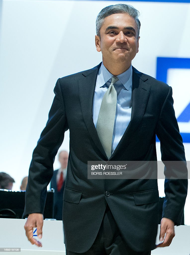 Co-chairman of Germany's biggest bank Deutsche Bank Anshu Jain attends Deutsche Bank's annual general meeting on May 23, 2013 in Frankfurt am Main, western Germany. AFP PHOTO / BORIS ROESSLER / GERMANY OUT
