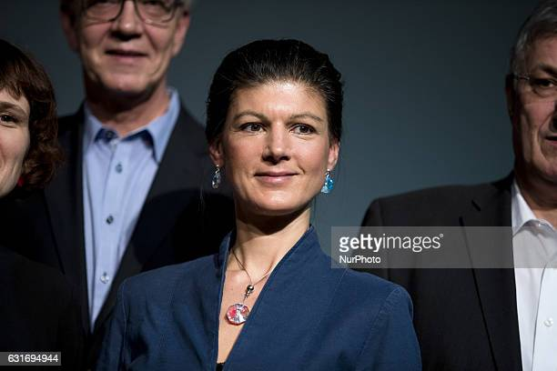 CoChairman of parliamentary group Sahra Wagenknecht poses for a picture at the end of a news conference to present the program for the upcoming...