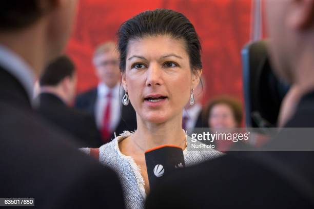 CoChairman of the Die Linke parliamentary group Sahra Wagenknecht speaks with the media prior to the vote for the election of the new President by...