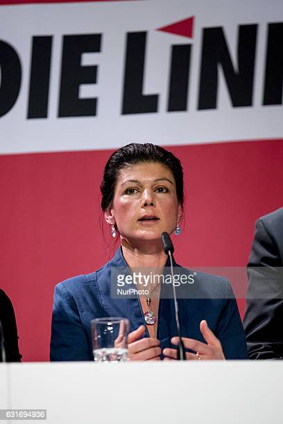 CoChairman of the Die Linke party parliamentary group Sahra Wagenknecht is pictured during a news conference to present the program for the upcoming...