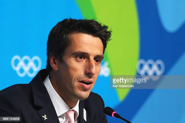 Cochairman of the Paris Bid Committee Tony Estanguet talks while attending a press conference given by the Paris 2024 Candidate Olympic City...