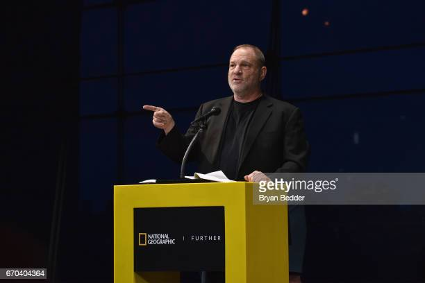 CoChairman of The Weinstein Company Harvey Weinstein speaks at National Geographic's Further Front Event at Jazz at Lincoln Center on April 19 2017...