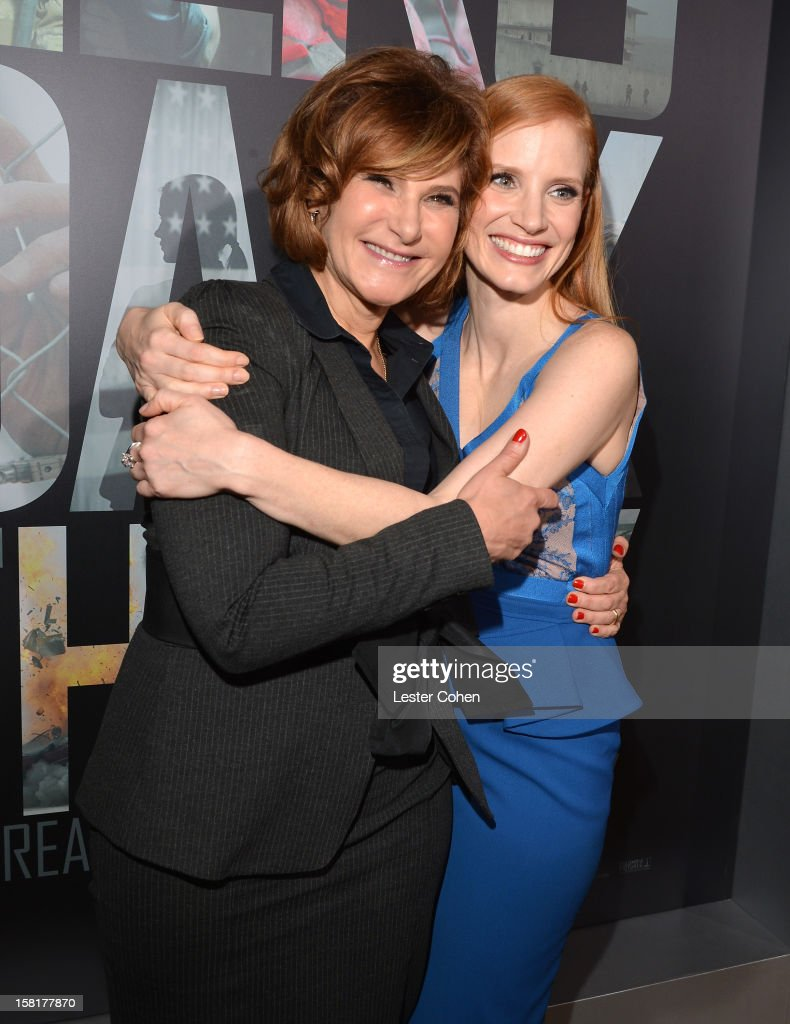 Co-Chairman, Sony Pictures Entertainment Amy Pascal (L) and actress Jessica Chastain attend the 'Zero Dark Thirty' Los Angeles Premiere at Dolby Theatre on December 10, 2012 in Hollywood, California.