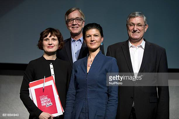 CoChairmans of parliamentary group Sahra Wagenknecht and Dietmar Bartsch and Coleaders of Die Linke party Bernd Riexinger and Katja Kipping pose for...