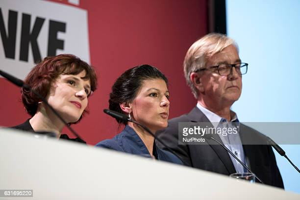 CoChairmans of parliamentary group Sahra Wagenknecht and Dietmar Bartsch and Coleader of Die Linke party Katja Kipping are pictured during a news...