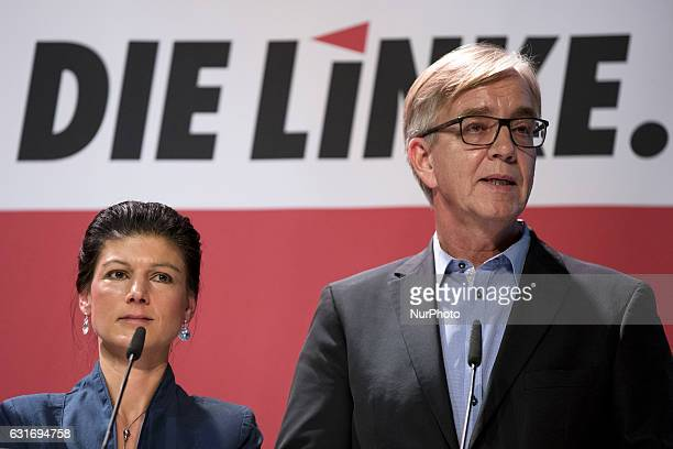 CoChairmans of the Die Linke party parliamentary group Sahra Wagenknecht and Dietmar Bartsch are pictured during a news conference to present the...