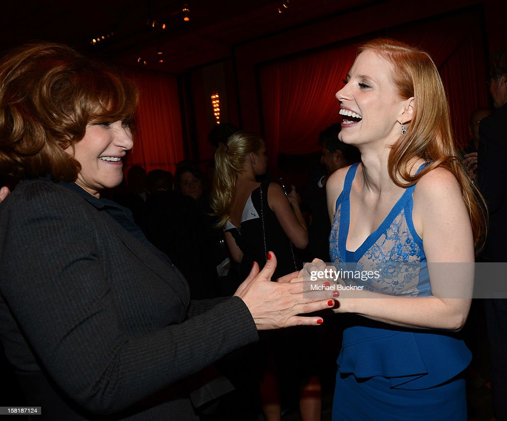 Co-Chairman-Sony Pictures Entertainment Amy Pascal (L) and actress Jessica Chastain attend the after party for the premiere of Columbia Pictures' 'Zero Dark Thirty' at the Dolby Theatre on December 10, 2012 in Hollywood, California.