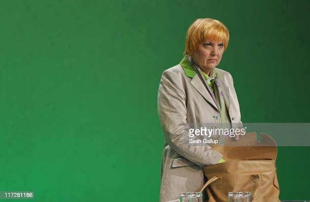 CoChairwoman Claudia Roth of the German Greens Party attends an exceptional national convention of the party over nuclear energy on June 25 2011 in...