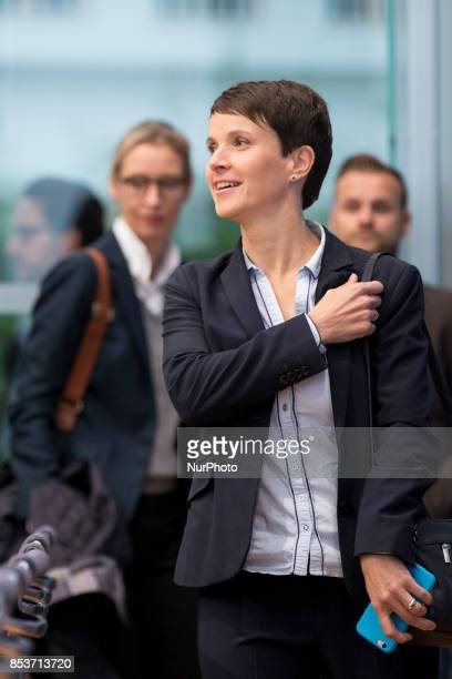Cochairwoman of Alternative for Germany Frauke Petry and top candidate Alice Weidel arrive to a press conference on the day after the elections at...