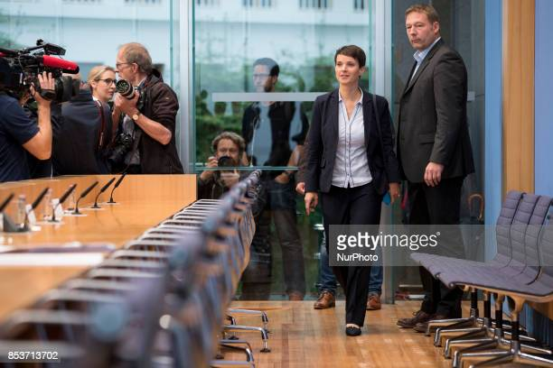 Cochairwoman of Alternative for Germany Frauke Petry arrives to a press conference on the day after the elections at the Bundespressekonferenz on...