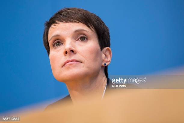 Cochairwoman of Alternative for Germany Frauke Petry is seen during a press conference on the day after the elections at the Bundespressekonferenz on...