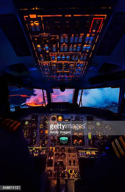 Cockpit of a turboprop plane, Bardarbunga, Iceland